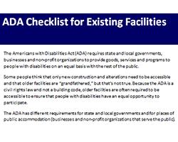 Checklist Download Page - ADA Checklists for Existing Facilities